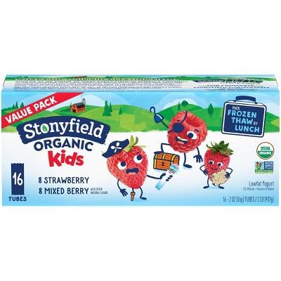 Stonyfield Organic Kids' Strawberry & Mixed Berry Lowfat Yogurt - 16ct/2oz Tubes