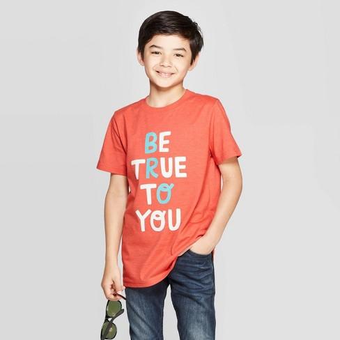 Boys' Short Sleeve Graphic T-Shirt - Cat & Jack™ Orange - image 1 of 3