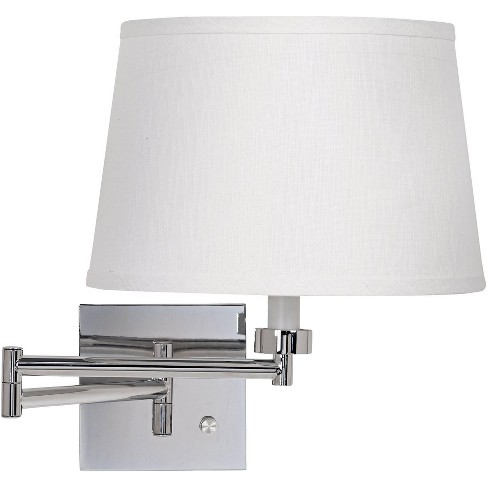 Possini Euro Design Modern Swing Arm Wall Lamp Chrome Plug-In Light Fixture White Linen Drum Shade for Bedroom Bedside Reading - image 1 of 2