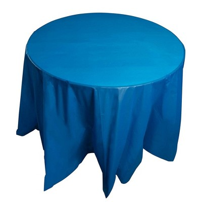 """Juvale 12-Pack 84"""" Disposable Plastic Round Tablecloth Table Covers Party Supplies, Blue"""