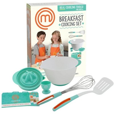 Jazwares MasterChef Junior Breakfast Cooking Set - Kit Includes Real Cooking Tools for Kids and Recipes, 6pc