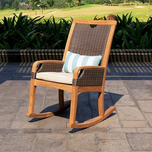 Palma Teak Patio Rocking Chair With, Outdoor Rocking Chair Cushions Target