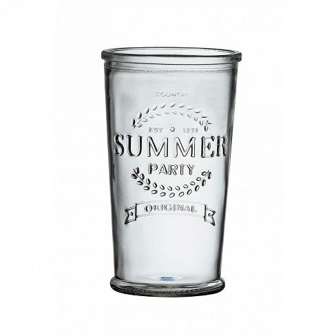 Amici Home Summer Party Clear with Embossed Finish 16 oz Glass Drinkware, Set of 6 Glasses - image 1 of 2