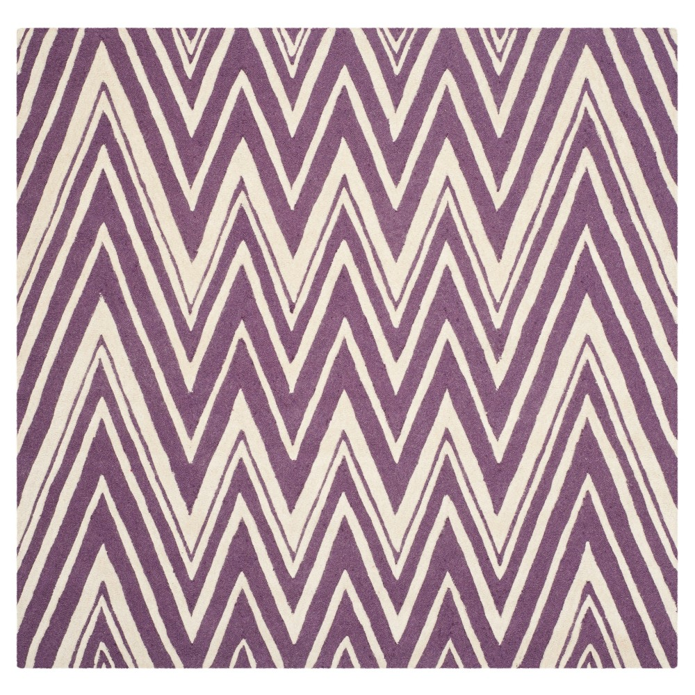Burton Textured Rug - Purple / Ivory (6' X 6' Square) - Safavieh, Purple/Ivory