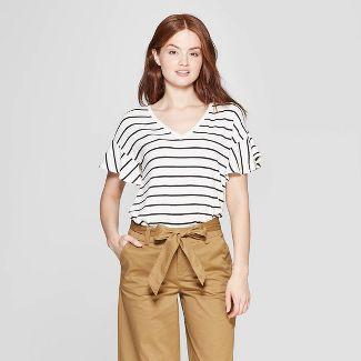 Women s Striped Short Sleeve Ruffle T-Shirt - A New Day™ Cream Black 6f70eaf9358b