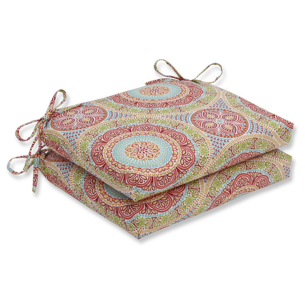 Outdoor/Indoor Delancey Jubilee Squared Corners Seat Cushion Set of 2 - Pillow Perfect, Multi-Colored