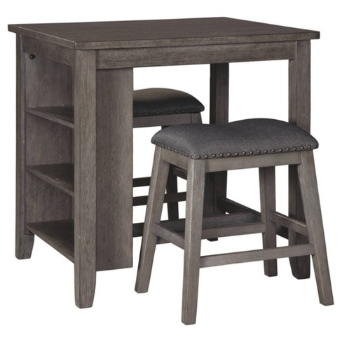 Set Of 3 Caitbrook Counter Height Dining Table And Bar Stools Gray Signature Design By Ashley Target