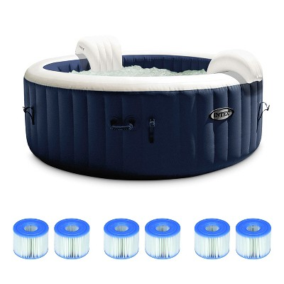 Intex 28431E PureSpa Plus 85in x 25in Outdoor Portable Inflatable 6 Person Round Hot Tub Bubble Jet Spa with 6 Type S1 Filter Replacement Cartridges