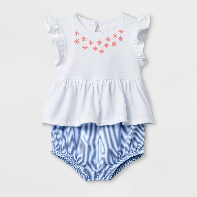 Baby Girls' Flutter Sleeve Short Romper with Puff Neckline - Cat & Jack™ White/Blue 0-3M