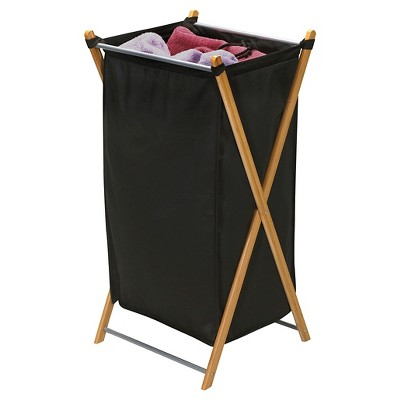 Household Essentials - Bamboo X-Frame Laundry Hamper - Canvas - Black