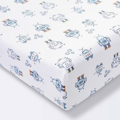 Fitted Crib Sheet Robots - Cloud Island™ Blue