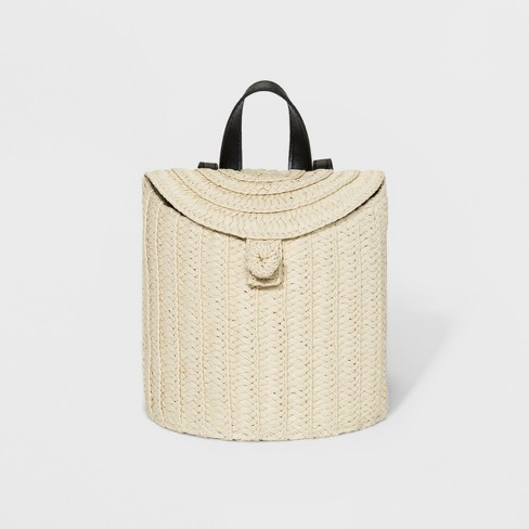 Women's Straw Basket Backpack - A New Day™ Natural - image 1 of 4