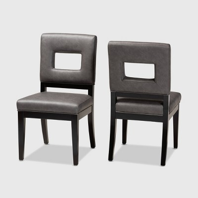 Set of 2 Faustino Faux Leather Upholstered Wood Dining Chairs Gray/Black - Baxton Studio