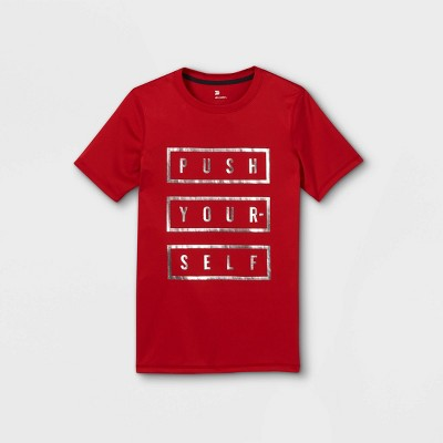 Boys' Short Sleeve 'Push Yourself' Graphic T-Shirt - All in Motion™ Red