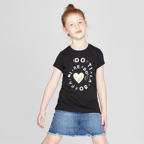 Girls' Short Sleeve Music Graphic T-Shirt - Cat & Jack™ Black L - image 1 of 3
