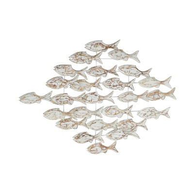 "37"" x 26"" Iron and Textured Albasia Wood Fish Wall Decor White - Olivia & May"