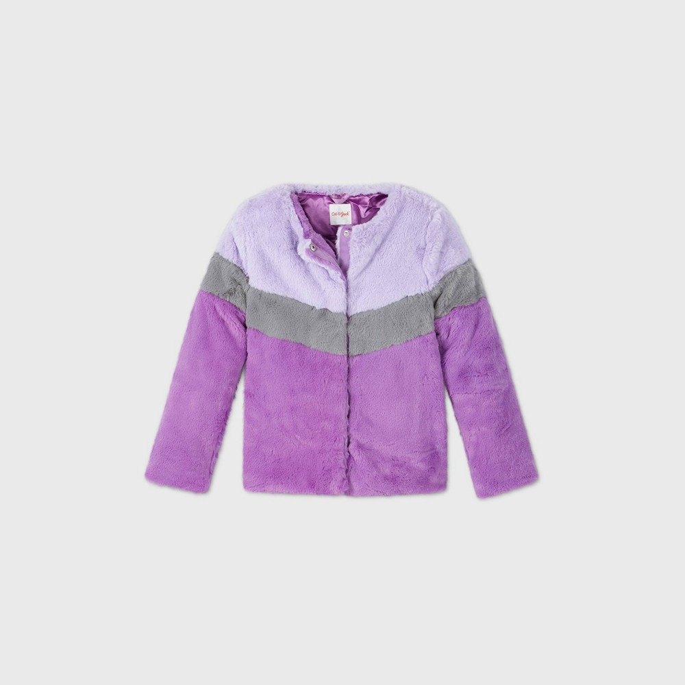 Girls 39 Chevron Pieced Faux Fur Jacket Cat 38 Jack 8482 Purple Xs