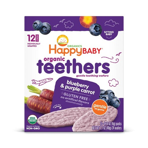 HappyBaby Blueberry & Purple Carrot Organic Teethers - 12ct/0.14oz Each - image 1 of 3