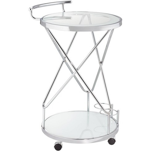 """Studio 55D Page 29 1/2"""" High Glass and Chrome Rolling Serving Bar Cart - image 1 of 4"""
