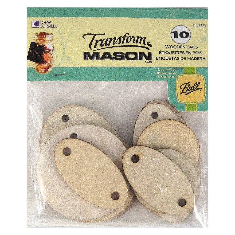 Ball Transform Mason Oval Wooden Tags 10ct, Neutral Transform Mason Wooden Tags are perfect for labeling your canning jars or adding a special touch to gifts. Made of raw wood that can be left as is or painted. Like try using a solid color chalkboard paint making the tags reusable. Get creative and tie on tags with string, raffia, or ribbon. Oval Wooden Tags include 10 tags to help transform ordinary mason jars into extraordinary crafting and gift giving creations. Color: Neutral.