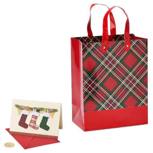 Papyrus Plaid Gift Bag And Greeting Card Set - image 1 of 2