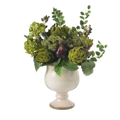 """15"""" x 17"""" Artificial Artichoke and Hydrangea Flower Plant Arrangement in Planter - Nearly Natural"""