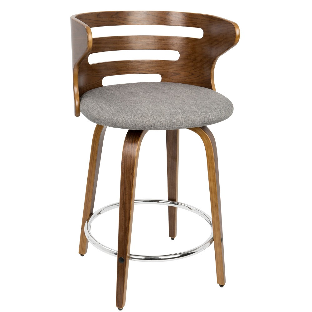 Cosini Mid-Century Modern Counter Stool Gray/Walnut (Gray/Brown) - LumiSource