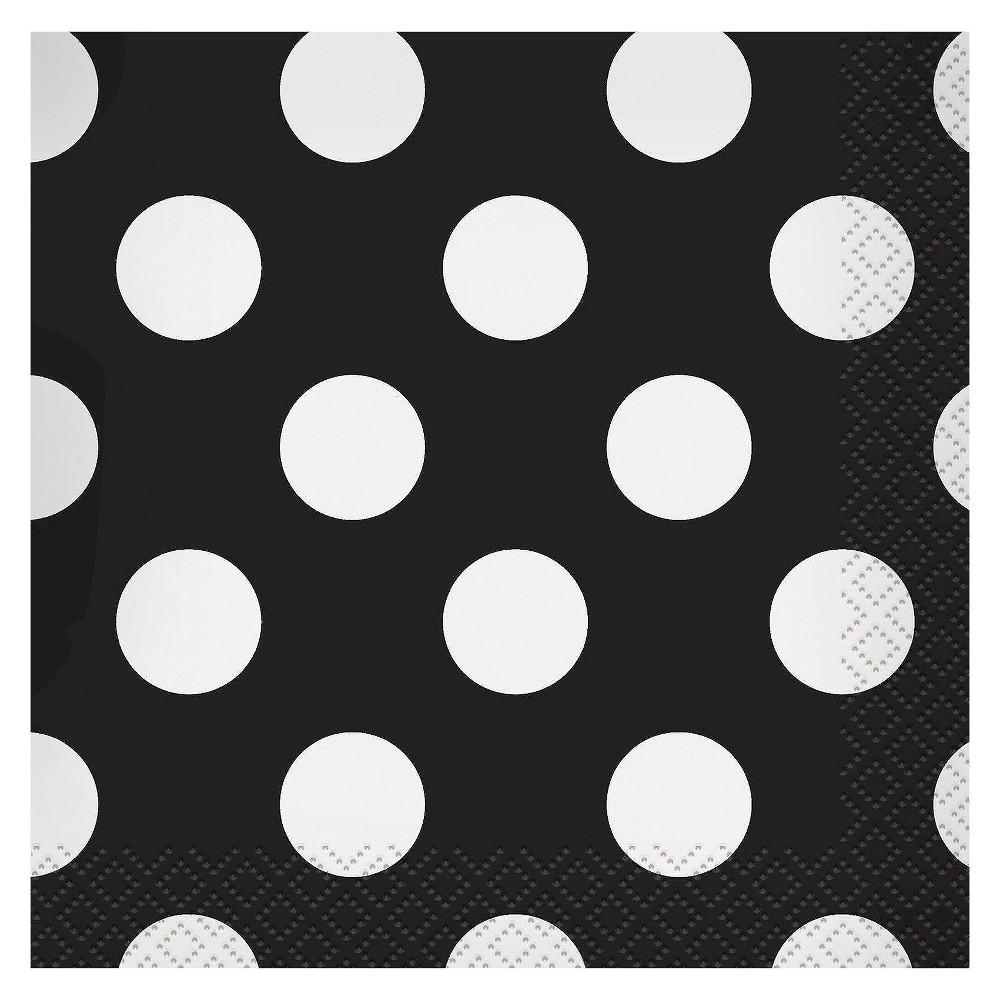 Image of 16ct Black & White Polka Dot Cocktail Beverage Napkin