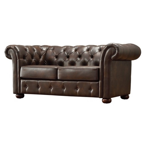 Druld Tufted Loveseat Tufted Leather Brown - Inspire Q - image 1 of 6