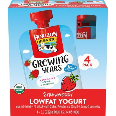 Horizon Organic Growing Years Strawberry Kids' Yogurt Pouch - 14oz/4pk