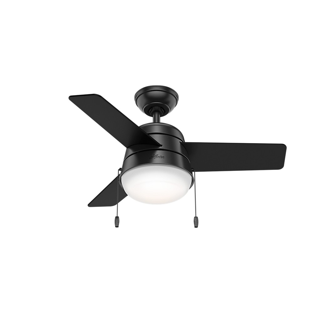 "Image of ""36"""" Aker LED Lighted Ceiling Fan Matte Black - Hunter Fan"""