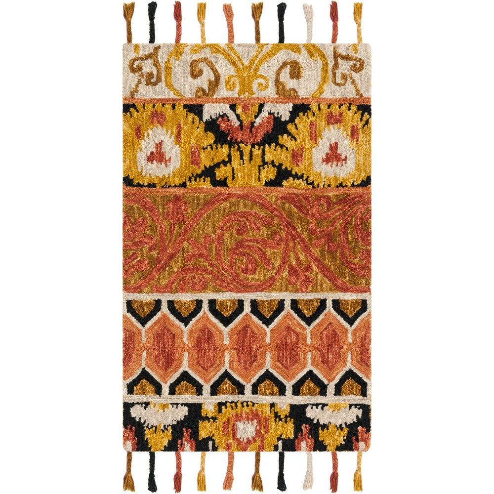 5'X8' Shapes Hooked Area Rug Rust/Gold - Safavieh, Red