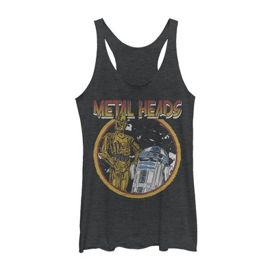 Women's Star Wars Metal Head Rock Droids Racerback Tank Top