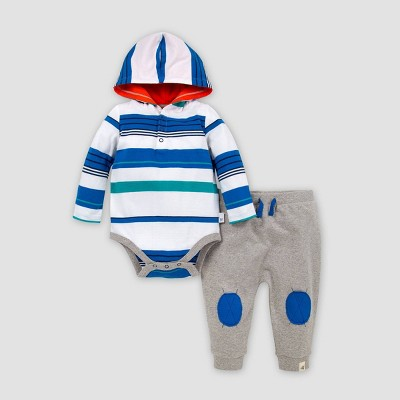Burt's Bees Baby® Baby Boys' Organic Cotton Multi Stripe Hooded Bodysuit and French Terry Pant Set - 3-6M
