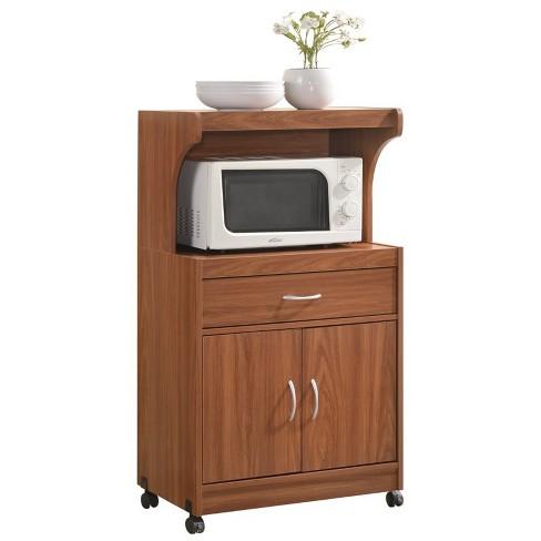 Microwave Kitchen Cart in Cherry - Hodedah