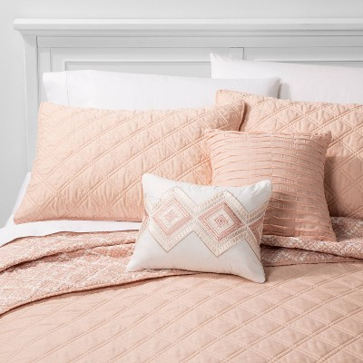 5pc Full/Queen Cole Stitched Chambray Quilt Set Blush