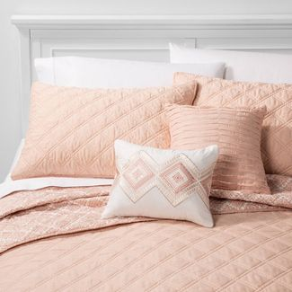 5pc King Cole Stitched Chambray Quilt Set Blush