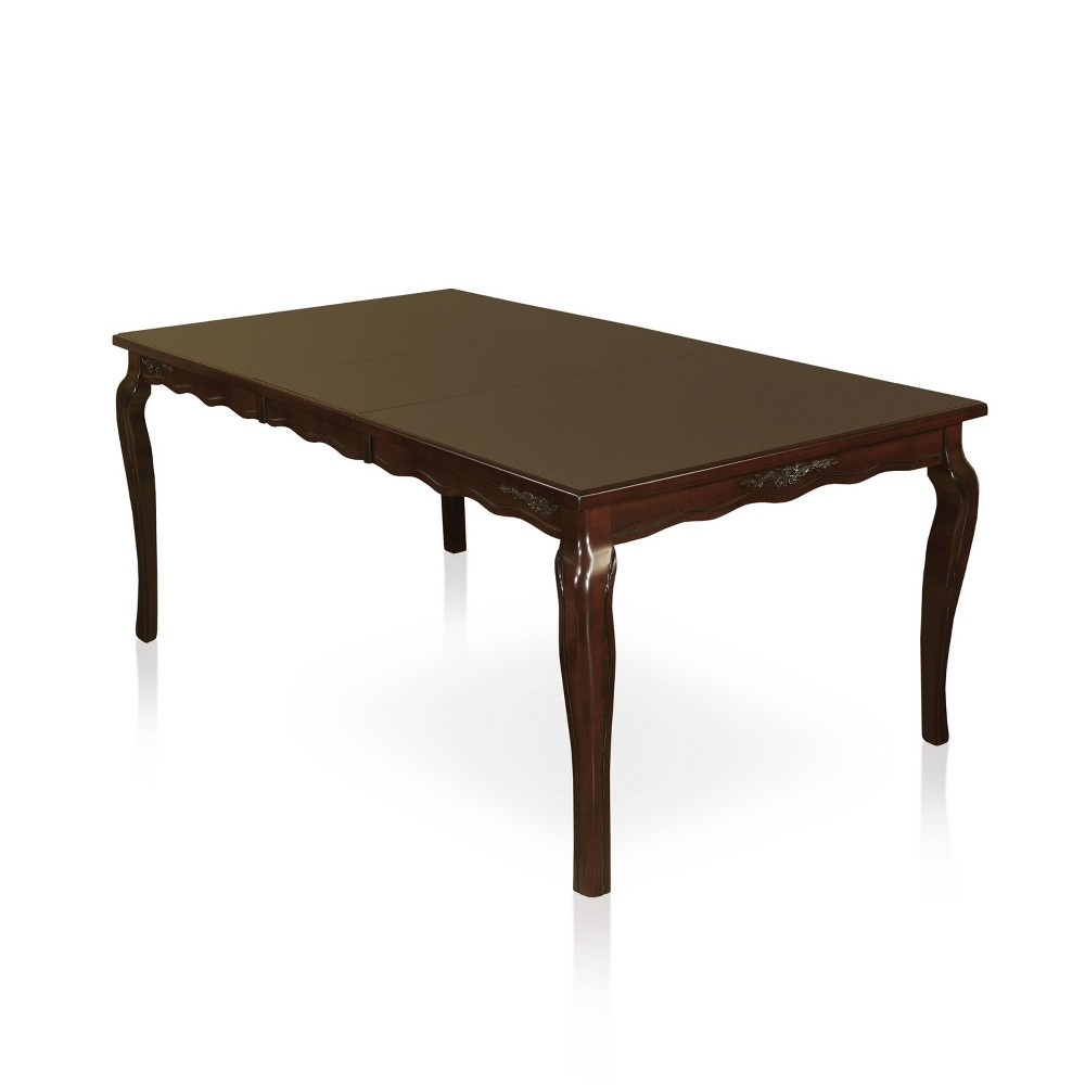 """Image of """"78"""""""" Danburn Floral Accented Dining Table Dark Walnut - ioHOMES, Brown"""""""