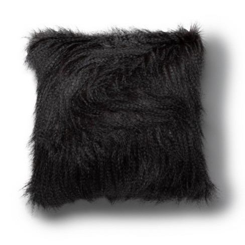 "20""x20"" Glitzy Faux Fur Decorative Throw Pillow Gray - SureFit - image 1 of 3"