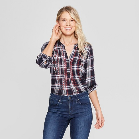 Women's Plaid Long Sleeve Embroidered Popover Top - Knox Rose™ Blue - image 1 of 2