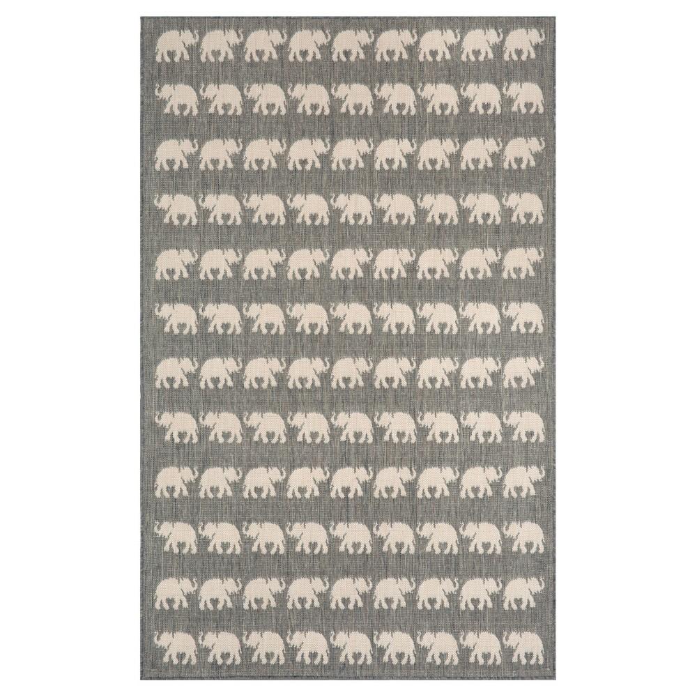 Terrace Indoor/Outdoor Elephants Silver Rug 39