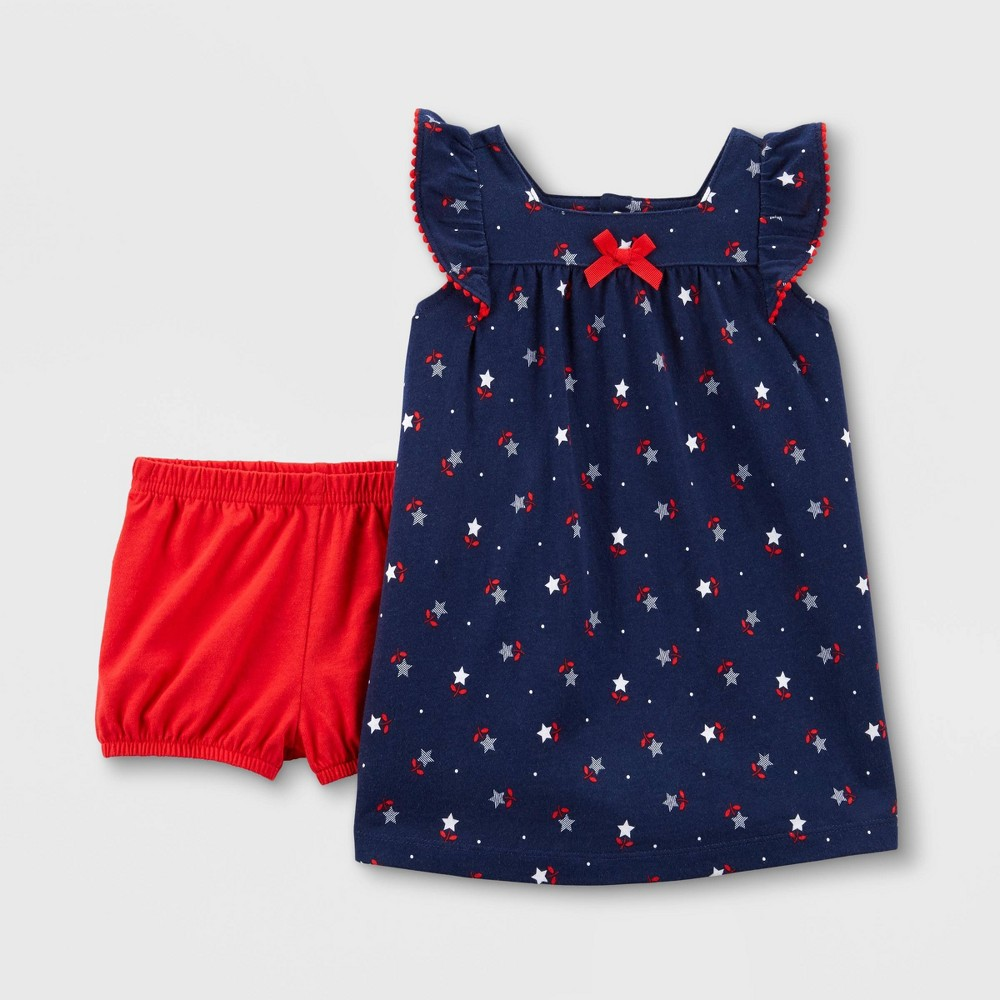 Baby Girls' Stars Ruffle Top and Bottom Set - Just One You made by carter's Blue 18M