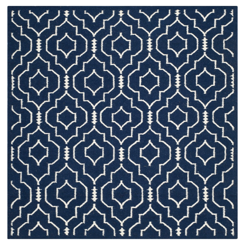 Dhurries Rug - Navy/Ivory (Blue/Ivory) - (6'x6' Square) - Safavieh