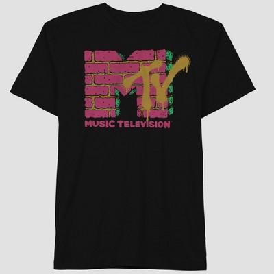 Men's MTV Pink Brick Short Sleeve Graphic T-Shirt - Black