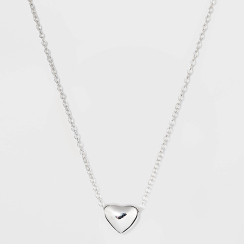 Sterling Silver Puff Heart Necklace - Silver - image 1 of 2
