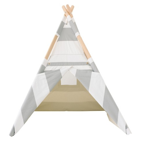 Striped Teepee - Gray and White - Tnee's Tpees - image 1 of 5