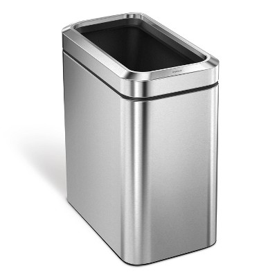 simplehuman 25L Slim Open Steel Trash Can Brushed Silver