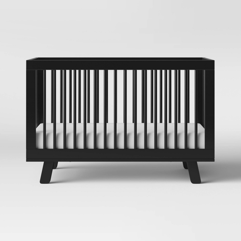 Image of Babyletto Hudson 3-In-1 Convertible Crib With Toddler Bed Conversion Kit - Black