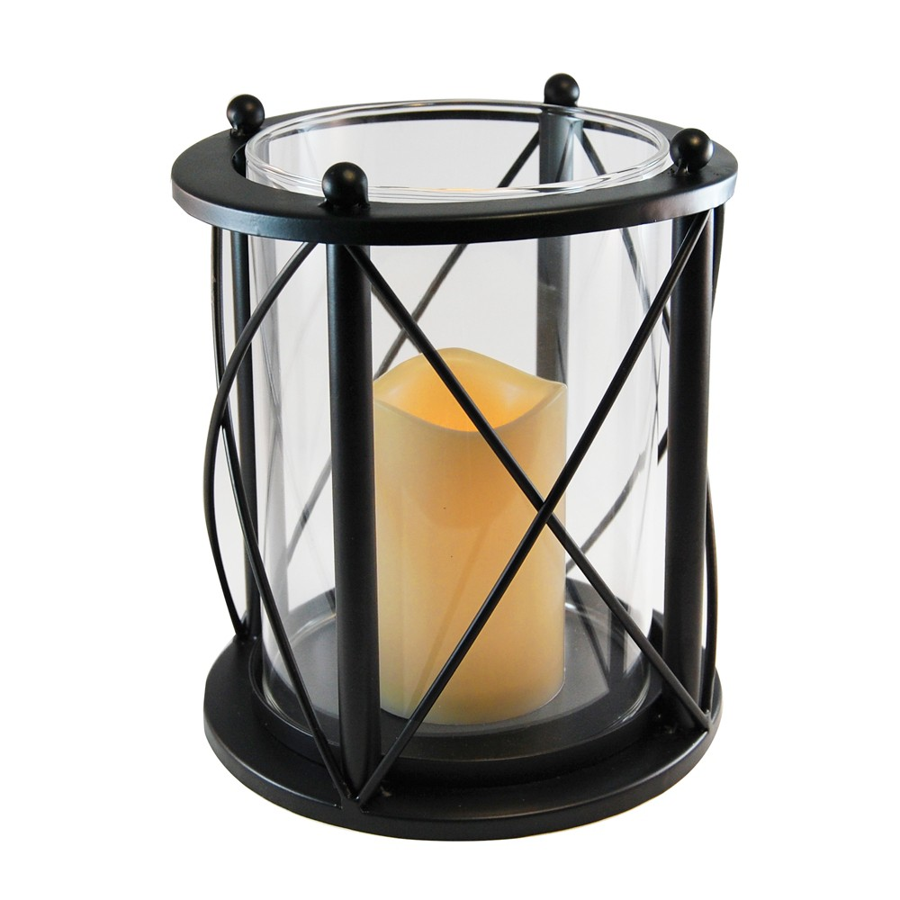 Image of Round Metal LED Lantern With Criss Cross Design And Battery Operated Candle Black - LumaBase