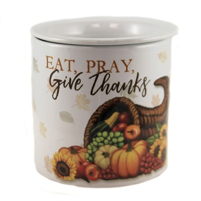 """Tabletop 5.5"""" Eat,Pray, Give Thanks Thanksgiving Gathering Pumpkin Carson Home Accents  -  Serving Bowls"""